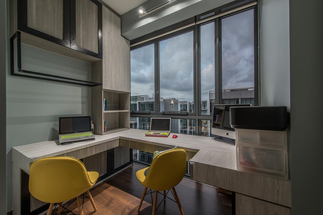 The Luxurie, Ace Space Design, Modern, Study, Condo, Study Table, Computer Desk, Workstation, Work Desk, Computer, Laptop, Eames Chair, Cabinet, Cabinetry, Window, Yellow, Yellow Chairs, Chair, Furniture, Appliance, Electrical Device, Oven, HDB, Building, Housing, Indoors, Loft