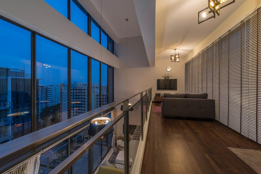 Modern, Condo, Living Room, The Luxurie, Interior Designer, Ace Space Design, High Ceiling, Loft, Big Windows, Blinds, Venetian Blinds, Wood Floor, Wooden Flooring, Pendant Lamp, Hanging Lamp, Industrial Style Lamp, Sofa, Couch, Fabric Sofa, Furniture