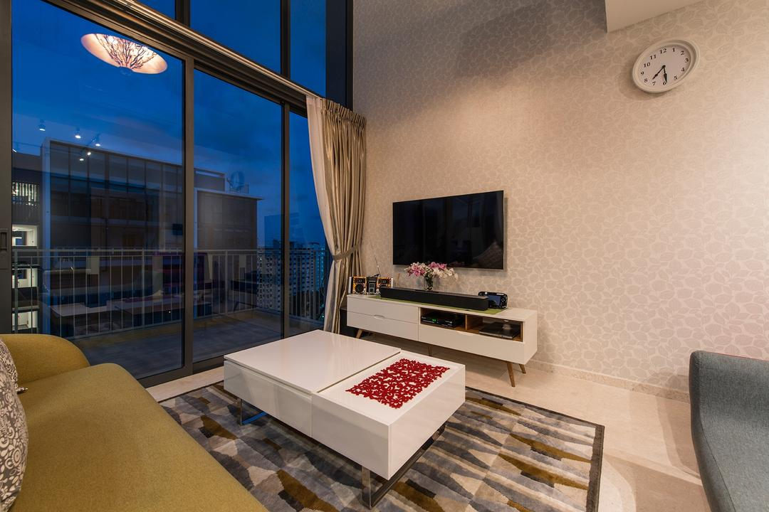 The Luxurie, Ace Space Design, Modern, Living Room, Condo, Tv Cabinet, Tv Console, Coffee Table, Carpet, Wall Clock, Clock, Pencil Leg, Tv, Sofa, Colourful Sofa, Wallpaper, Window, Huge Window, Couch, Furniture, HDB, Building, Housing, Indoors, Box