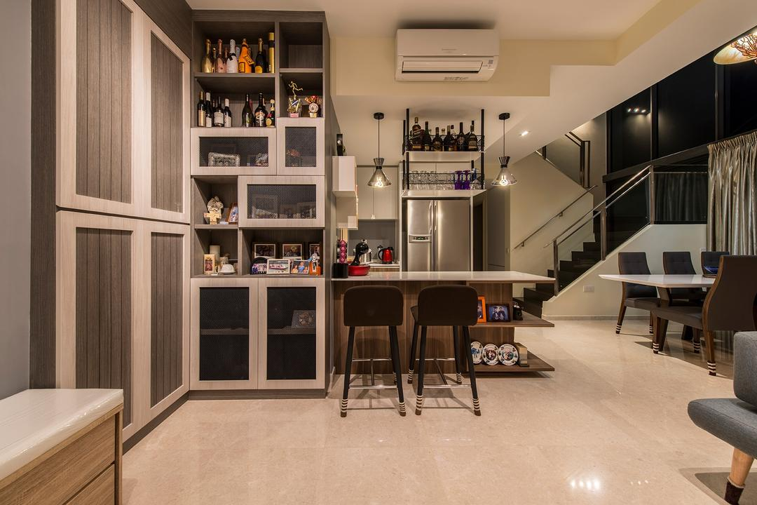 The Luxurie, Ace Space Design, Modern, Kitchen, Condo, Cabinet, Cabinetry, Shelving, Shelves, Storage, Storage Ideas, Liquor, Stools, Aircon, Dark Colours, Dark Furniture, , Hanging Lamp, Pendant Lamp, Photo Frame, Chair, Furniture, Dining Table, Table
