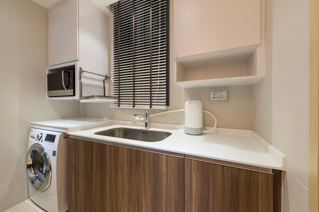 The Luxurie, Ace Space Design, Modern, Kitchen, Condo, , Venetian Blind, Blinds, Laundry Area, Washing Machine, Kitchen Sink, Sink, Kitchen Cabinet, Cabinetry, Appliance, Electrical Device, Microwave, Oven, Bathroom, Indoors, Interior Design, Room