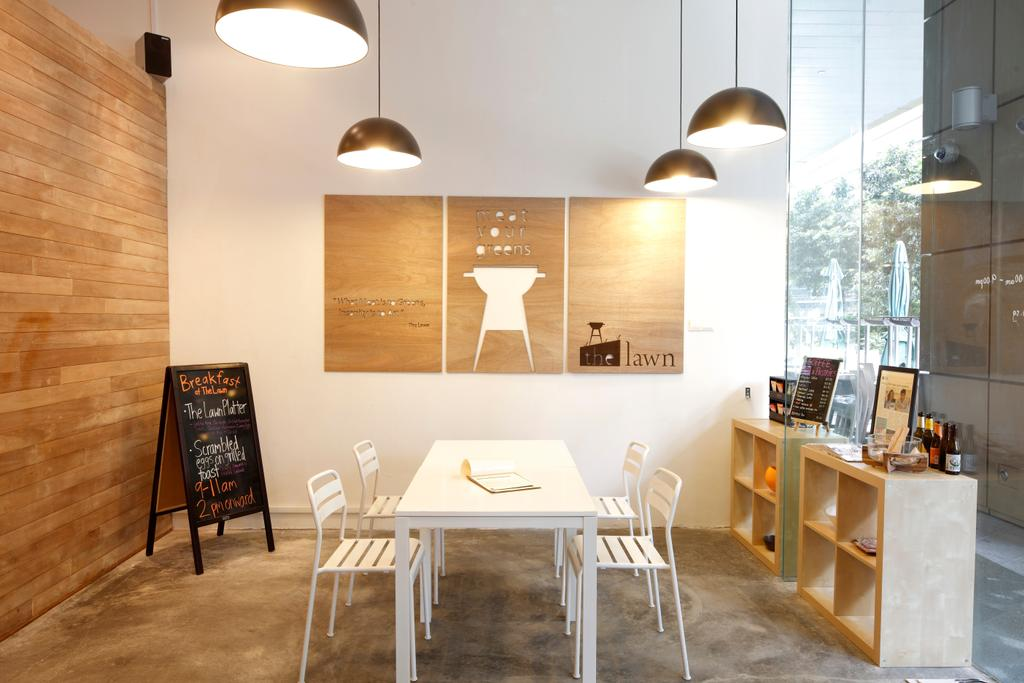 The Lawn, Commercial, Architect, EHKA Studio, Minimalistic, Dining Table, Dining Chairs, White Furniture, Pendant Lamp, Hanging Lamp, Wall Art, Wall Decor, Painting, Woody, Blackboard, Furniture, Table, Chair, Dining Room, Indoors, Interior Design, Room