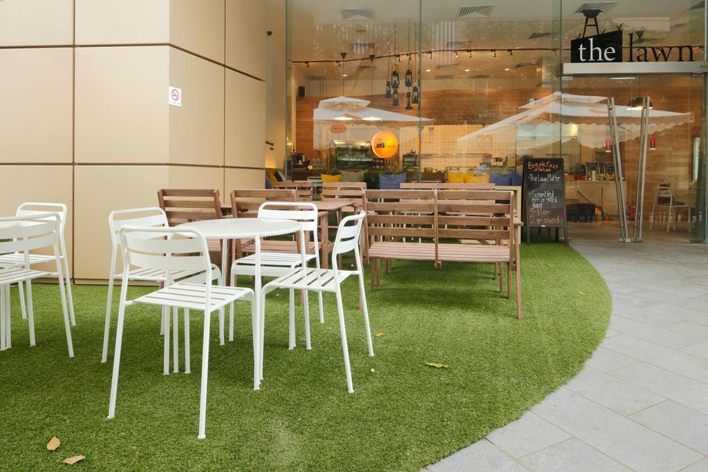 The Lawn, Commercial, Architect, EHKA Studio, Minimalistic, Grass, Nature, Balcony Furniture, White Tables, White Chairs, Bench, Entrance, Store Front, Shop Front, Shop Entrance, Chair, Furniture, Dining Table, Table