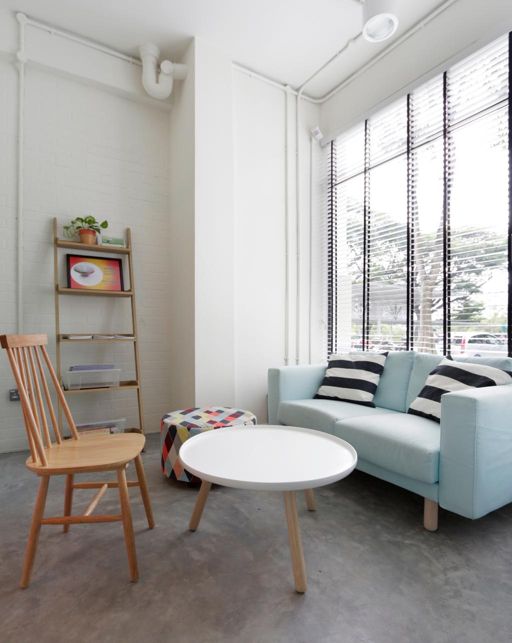 VOX Youth Centre, Commercial, Architect, EHKA Studio, Minimalistic, Living Room, Sofa, Baby Blue, Pastel, Pastel Colours, Light Blue, Loveseat, Coffee Table, Round Table, Chairs, Ladder Rack, Ladder Shelf, Wall Shelf, Ottoman, Bright, Airy, Chair, Furniture, Home Decor, Linen, Tablecloth, Sink