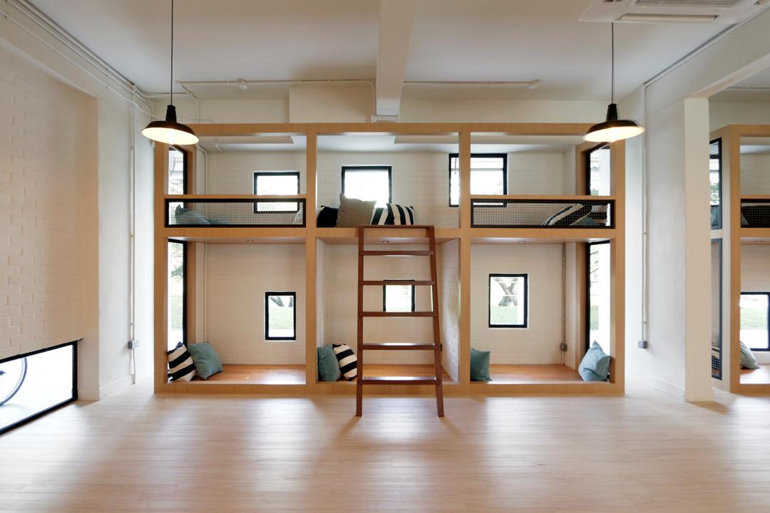 VOX Youth Centre, EHKA Studio, Minimalistic, Bedroom, Commercial, Bunk Bed, Dorm, Dormitory, Youth Centre, Kids, Cushion, Ladder, Flooring, Molding