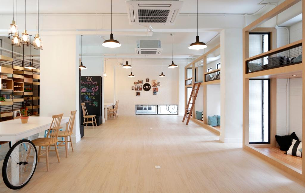 VOX Youth Centre, Commercial, Architect, EHKA Studio, Minimalistic, Bedroom, Spacious, Play Area, Dorm, Dormitory, Pendant Lamp, Hanging Lamp, Youth Centre, Light Fixture, Flooring, Dining Table, Furniture, Table, HDB, Building, Housing, Indoors, Loft, Lamp
