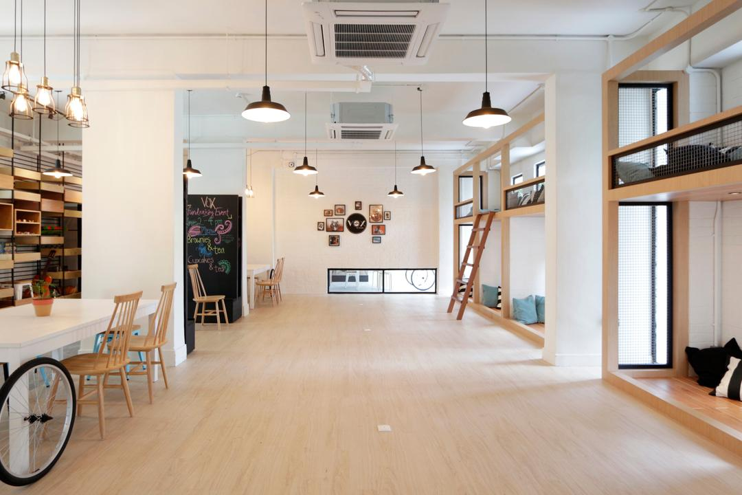 VOX Youth Centre, EHKA Studio, Minimalistic, Bedroom, Commercial, Spacious, Play Area, Dorm, Dormitory, Pendant Lamp, Hanging Lamp, Youth Centre, Light Fixture, Flooring, Dining Table, Furniture, Table, HDB, Building, Housing, Indoors, Loft, Lamp