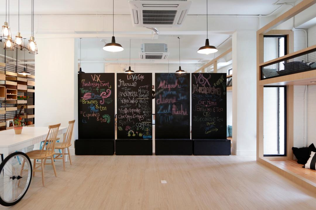VOX Youth Centre, EHKA Studio, Minimalistic, Bedroom, Commercial, Chalkboard, Wood Floor, Wooden Flooring, Light Colours, Light Wood, Pendant Lamp, Hanging Lamp, Ceiling Casette Aircon, Dining Table, Furniture, Table, Light Fixture, Flooring, HDB, Building, Housing, Indoors, Loft