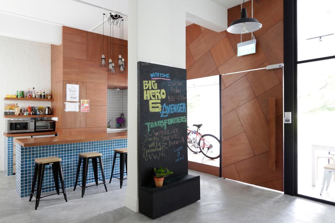 VOX Youth Centre, EHKA Studio, Minimalistic, Kitchen, Commercial, Wooden Panels, Woody, Tiles, Mosaic Tiles, Blue Tiles, Kitchen Tiles, Stools, Bar Stools, Wall Shelf, Shelves, Shelving, Blackboard, Indoors, Interior Design
