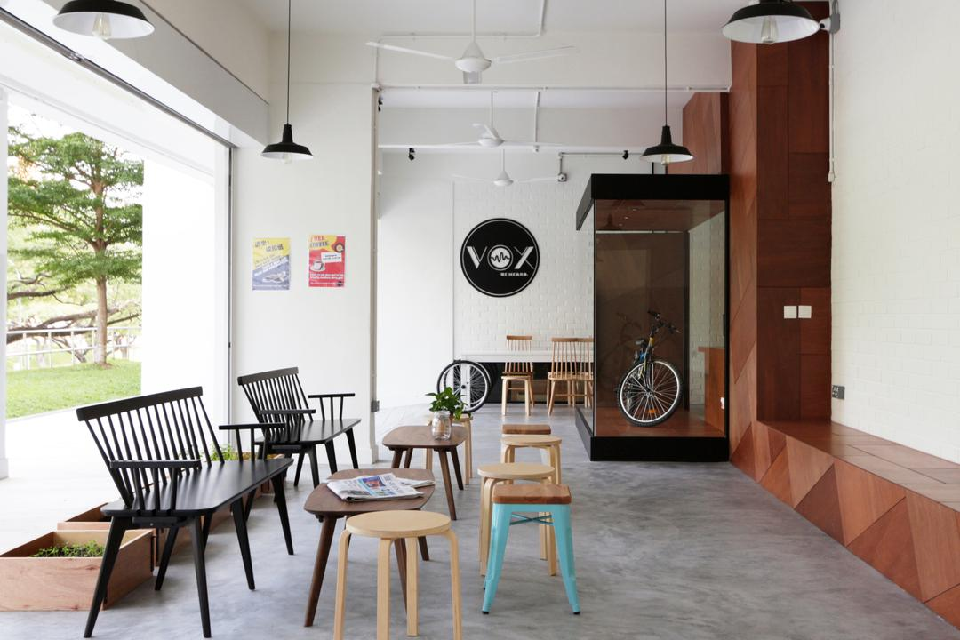 VOX Youth Centre, EHKA Studio, Minimalistic, Commercial, Stools, Chairs, Concrete Flooring, Pendant Lamp, Hanging Lamp, Outdoor Seating Area, Chair, Furniture, Dining Room, Indoors, Interior Design, Room, Dining Table, Table