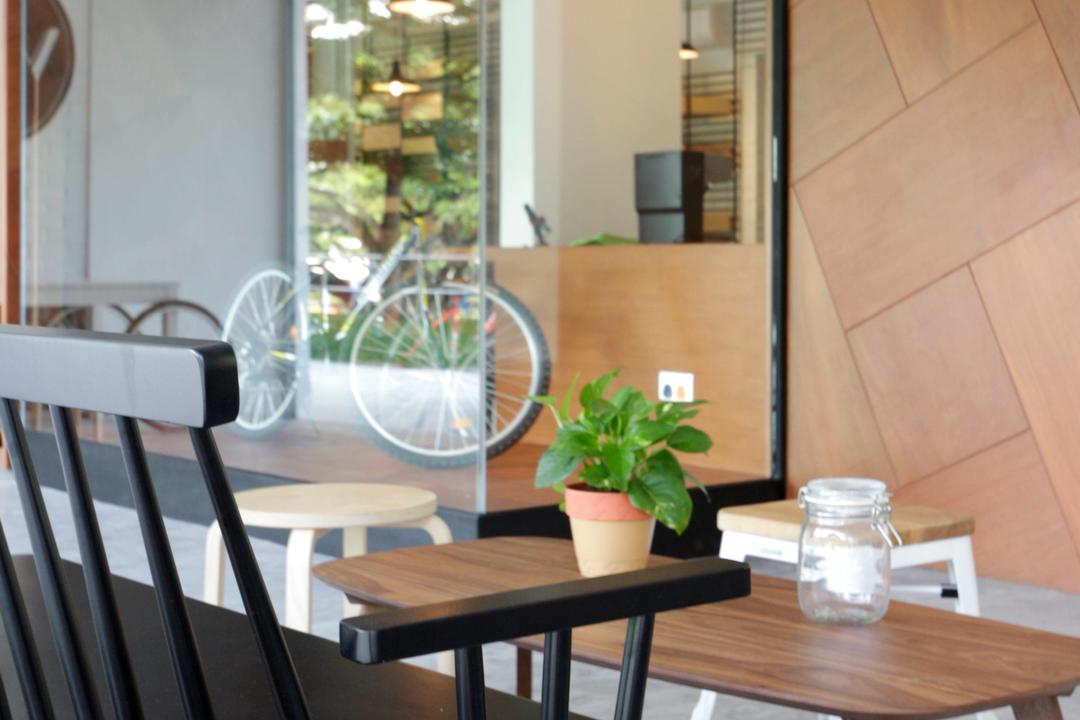 VOX Youth Centre, EHKA Studio, Minimalistic, Commercial, Flora, Jar, Plant, Potted Plant, Pottery, Vase, Bicycle, Bike, Transportation, Vehicle, Dining Table, Furniture, Table, Dining Room, Indoors, Interior Design, Room, Chair, Herbs, Mint, Planter