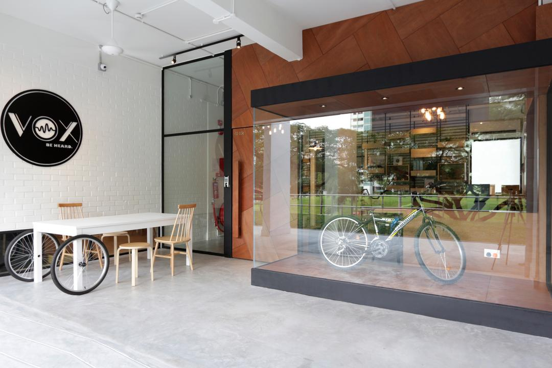 VOX Youth Centre, EHKA Studio, Minimalistic, Commercial, Display, Glass, Glass Wall, Shop Entrance, Door, Shop, Shopfront, Store Front, Dining Table, Furniture, Table, Bicycle, Bike, Transportation, Vehicle