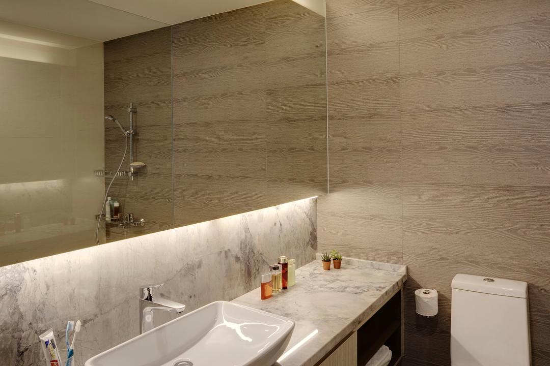 Jalan Tiga Ratus, The Design Practice, Modern, Bathroom, Condo, Mirror, Marble Surface, Bathroom Counter, Vessel Sink, Parquet Wall, Wood Laminate, Wood, Laminate, Concealed Lighting, Sink, Indoors, Interior Design, Room, Bench