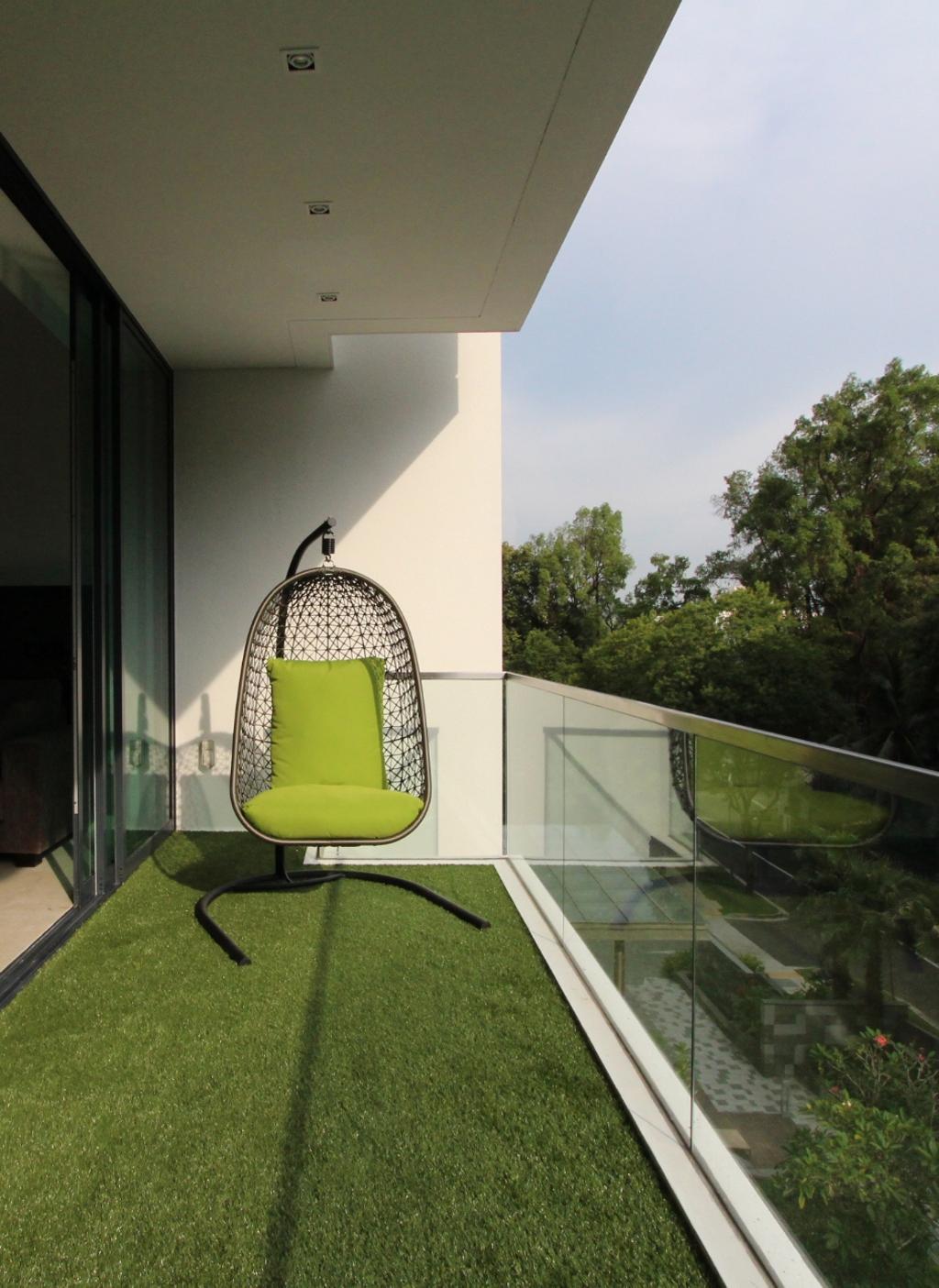 Minimalistic, Condo, Balcony, Parvis, Architect, EHKA Studio, Balcony Furniture, Swing Chair, Artificial Grass Carpet, Grass Carpet, Airy, Nature, Chair, Furniture