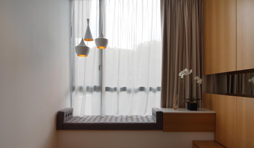 Minimalistic, Condo, Bedroom, Parvis, Architect, EHKA Studio, Cosy, Cosy Corner, Bay Window, Plants, Flowers, Plant Decor, Pendant Lamp, Hanging Lamp, Indoors, Interior Design