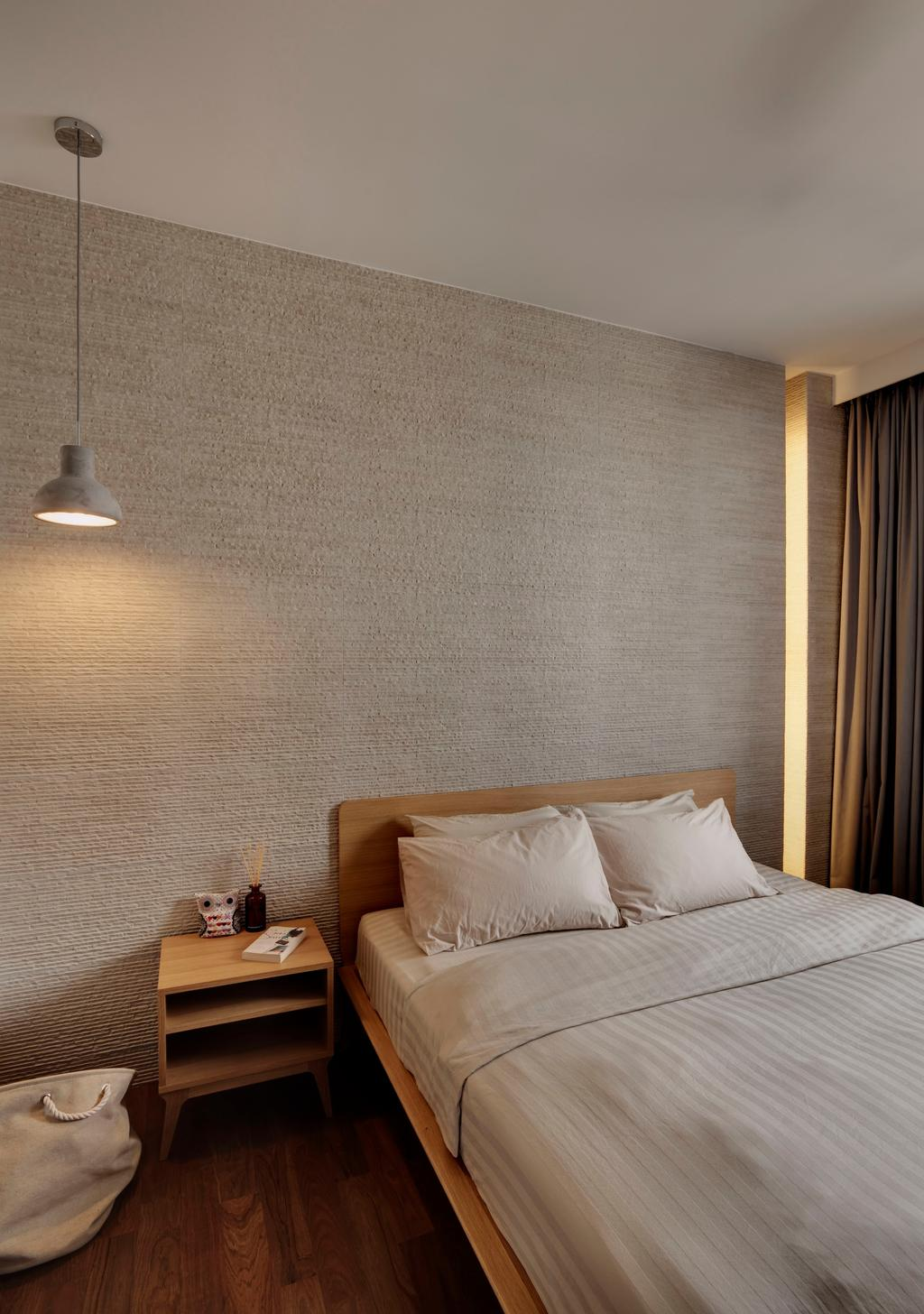 Modern, Condo, Bedroom, Jalan Tiga Ratus, Interior Designer, The Design Practice, Parquet, Hanging Light, Lighting, Side Table, Night Stand, Stone Wall, Stacco Wall, Raw, Wood Laminate, Wood, Laminate, Recessed Lighting, Indented Lighting, Neutral Tones