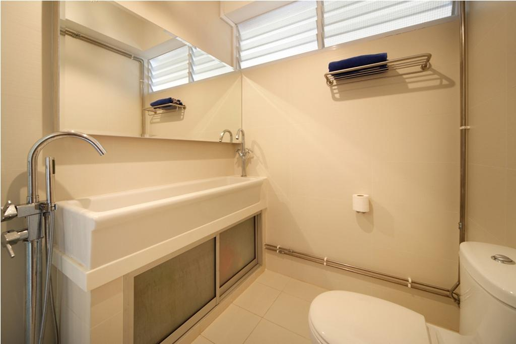 Industrial, Condo, Bathroom, Lakepoint Condo, Interior Designer, Chapter One Interior Design, Mirror, Bathtub, White, Cabinet, Storage