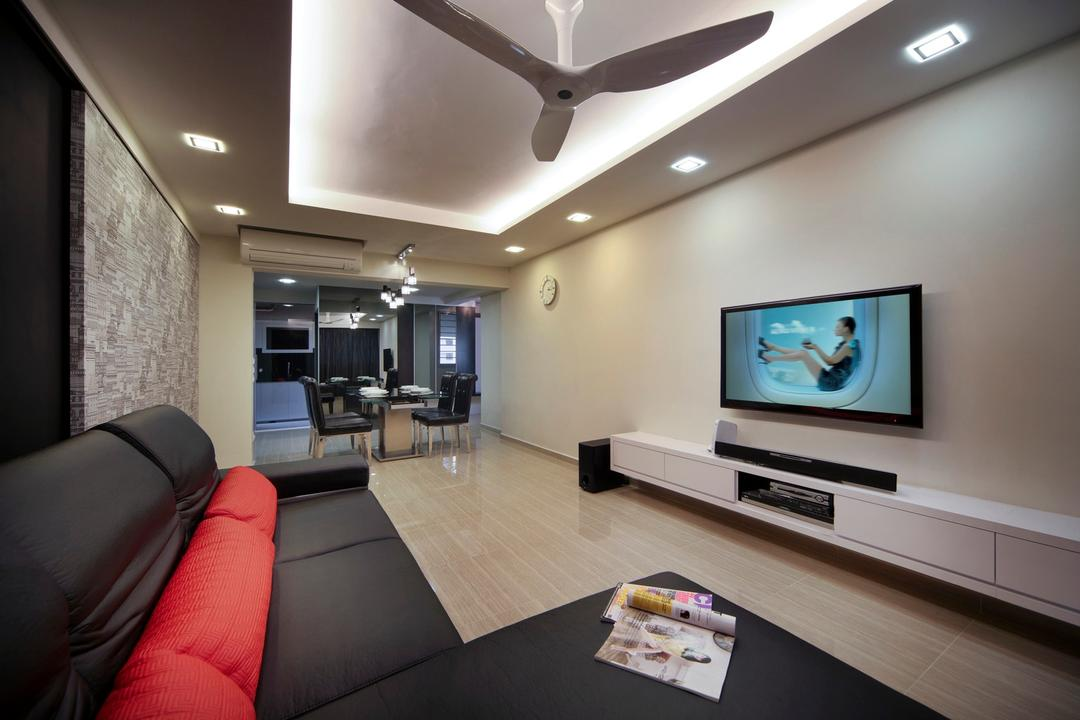 Ghim Moh Road, Chapter One Interior Design, Contemporary, Living Room, HDB, Tv Console, Soda, Ceiling Fan, False Ceiling, Concealed Lighting, White, Wallpaper, Laminate Flooring, Couch, Furniture