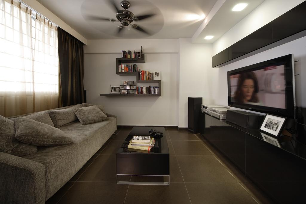 Modern, HDB, Living Room, Holland Avenue, Interior Designer, Chapter One Interior Design, Sofa, Coffee Table, Table, Shelf, Bookshelf, Shelves, Ceiling Fan, Curtains, Tv Console, White, Black, Electronics, Monitor, Screen, Tv, Television, Human, People, Person, Couch, Furniture, Indoors, Room