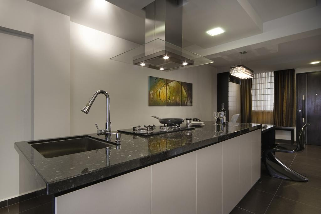 Modern, HDB, Kitchen, Holland Avenue, Interior Designer, Chapter One Interior Design, Exhaust Hood, Marble Surface, Kitchen Counter, White, Painting, Lighting