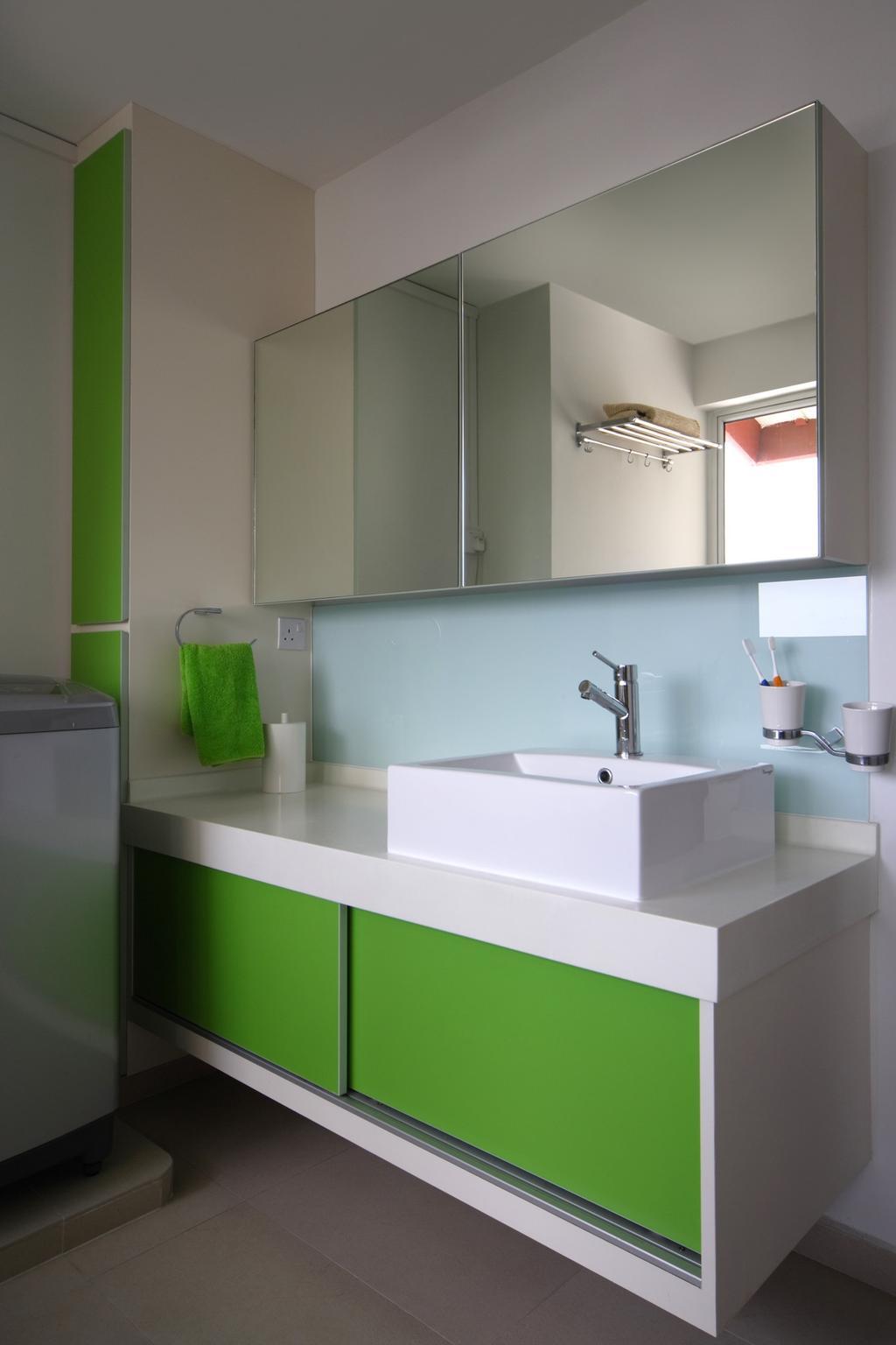 Modern, HDB, Bathroom, Holland Avenue, Interior Designer, Chapter One Interior Design, Green, White, Bathroom Counter, Mirror, Vessel Sink, Mirrorblue, Glass Wall, Sink, Candle