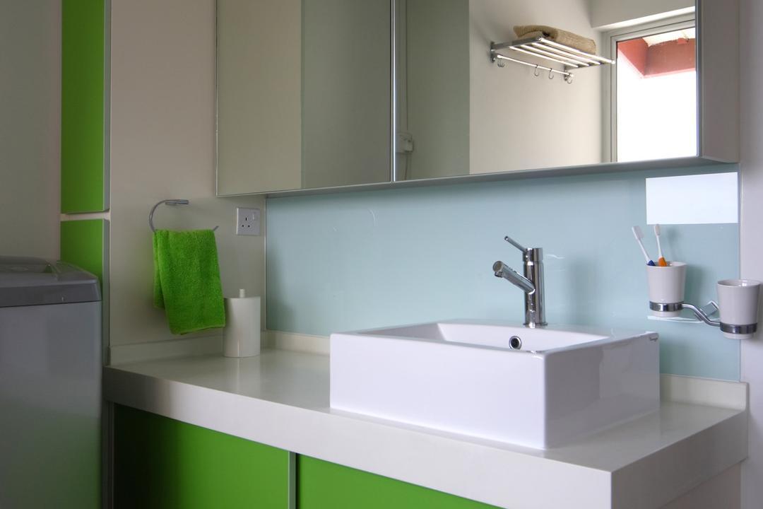 Holland Avenue, Chapter One Interior Design, Modern, Bathroom, HDB, Green, White, Bathroom Counter, Mirror, Vessel Sink, Mirrorblue, Glass Wall, Sink, Candle