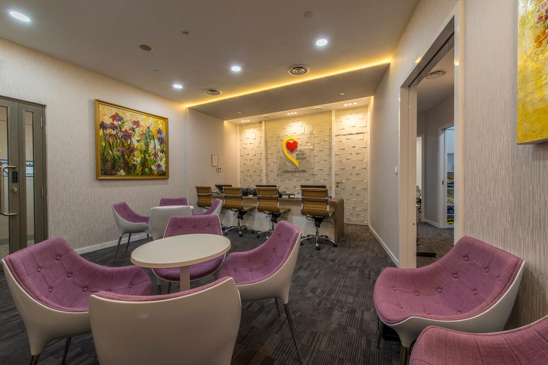 Farrer Park Hospital, Innerspace Design Solutions, Modern, Commercial, Consultation Area, Purple, Purple Chair, Table, Small Table, Painting, Wall Art, Wall Decor, Chair, Furniture, Indoors, Room, Art, Art Gallery, Dining Room, Interior Design