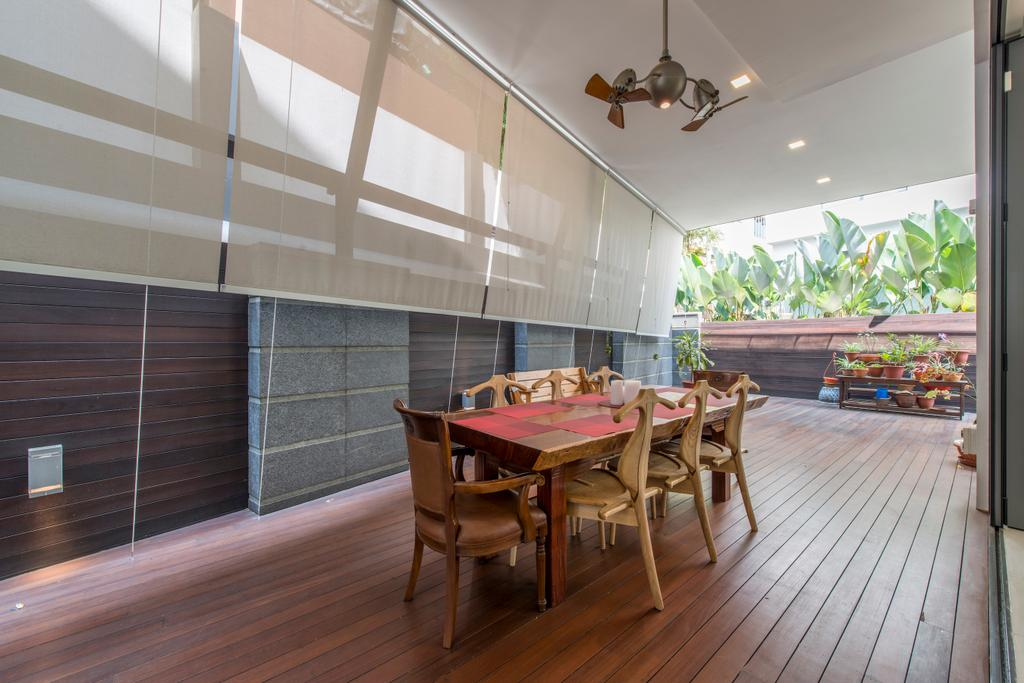 Traditional, Landed, Balcony, Jalan Istimewa, Interior Designer, Innerspace Design Solutions, Wood Floor, Wooden Flooring, Wooden Panels, Woody, Dining Table, Dining Chairs, , Chairs, Airy, Bright, Furniture, Chair, Dining Room, Indoors, Interior Design, Room, Table