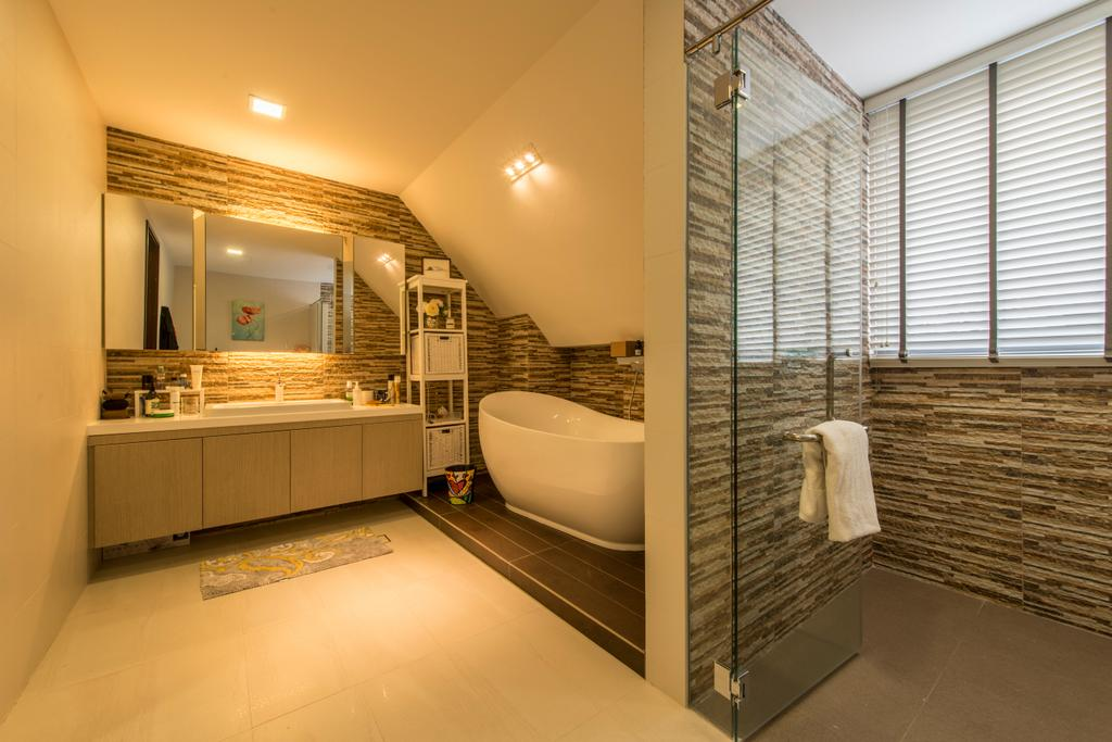 Traditional, Landed, Bathroom, Jalan Istimewa, Interior Designer, Innerspace Design Solutions, Wam Lighting, Bathtub, Bathroom Shelves, Shower Screen, Shower Area, Blinds, Venetian Blinds, Indoors, Interior Design, Room