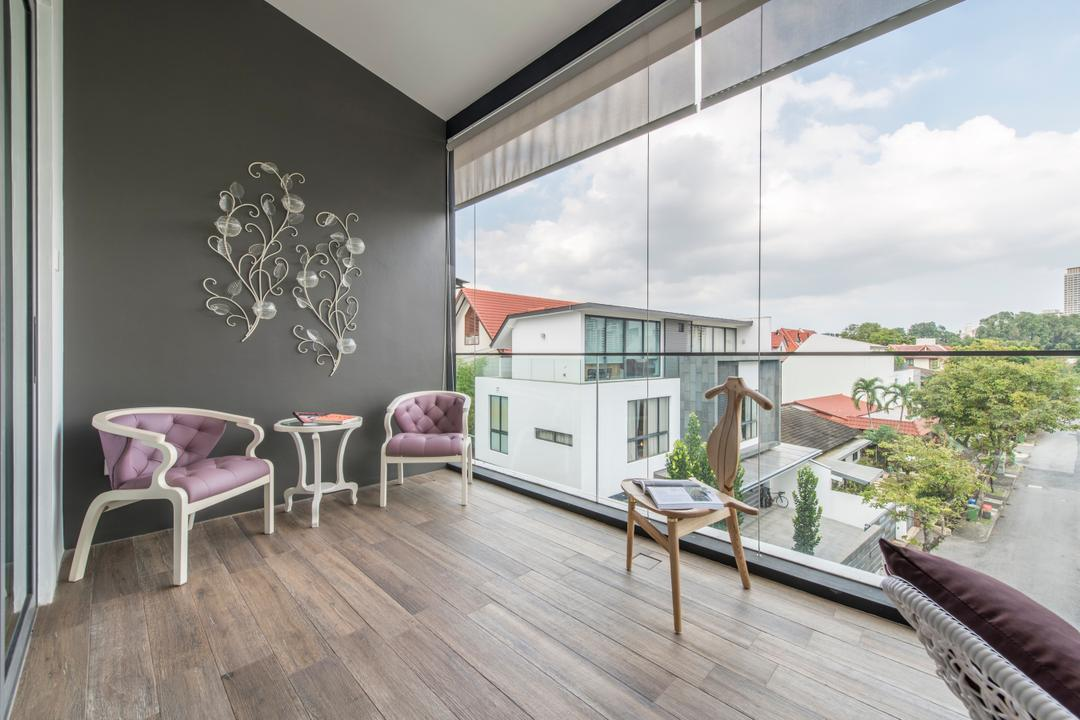 Jalan Istimewa, Innerspace Design Solutions, Traditional, Balcony, Landed, Balcony Furniture, Wood Floor, Wooden Flooring, Wall Art, Wall Decor, English Style, Victorian Style, Chair, Furniture