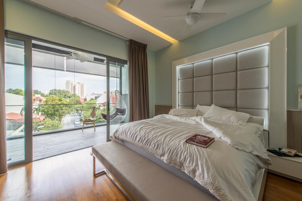 Traditional, Landed, Bedroom, Jalan Istimewa, Interior Designer, Innerspace Design Solutions, Upholstered Headboard, Cushioned Headboard, White Bed, Bed Bench, End Of Bed Bench, Bedroom Bench, Airy, Natural Lighting, Window, Bed, Furniture, Indoors, Interior Design, Room