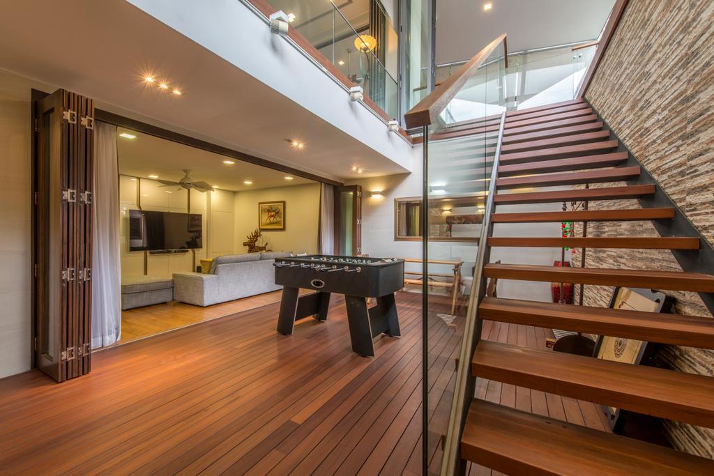 Traditional, Landed, Living Room, Jalan Istimewa, Interior Designer, Innerspace Design Solutions, Hardwood, Wood, Banister, Handrail, Staircase