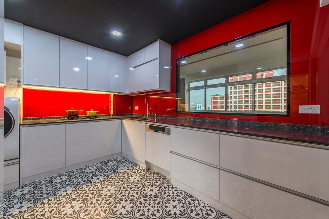 Jalan Tenaga, Innerspace Design Solutions, Modern, Kitchen, HDB, Patterned Tiles, Floor Tiles, White Cabinets, Kitchen Cabinet, Red, Cabinetry, Backplash, Under Cabinet Lighting, Lighting