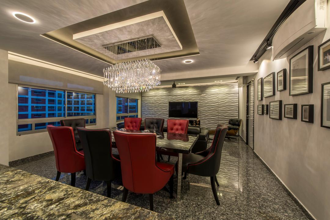 Jalan Tenaga, Innerspace Design Solutions, Modern, Living Room, HDB, Chandelier, Crystal Lights, Dining Table, Dining Chairs, Chairs, Red And Black, Marble Flooring, Dim, Dark Room, Wall Frames, Photo Frames, Chair, Furniture, Couch, Diner, Food, Meal, Restaurant