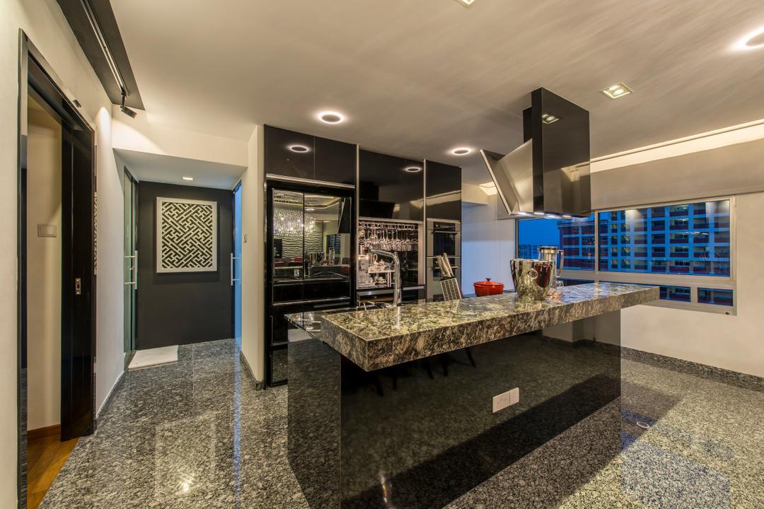 Jalan Tenaga, Innerspace Design Solutions, Modern, Kitchen, HDB, Black Kitchen Cabinet, Dark Colours, Black, Kitchen Countertop, Granite Cabinet, Shiny