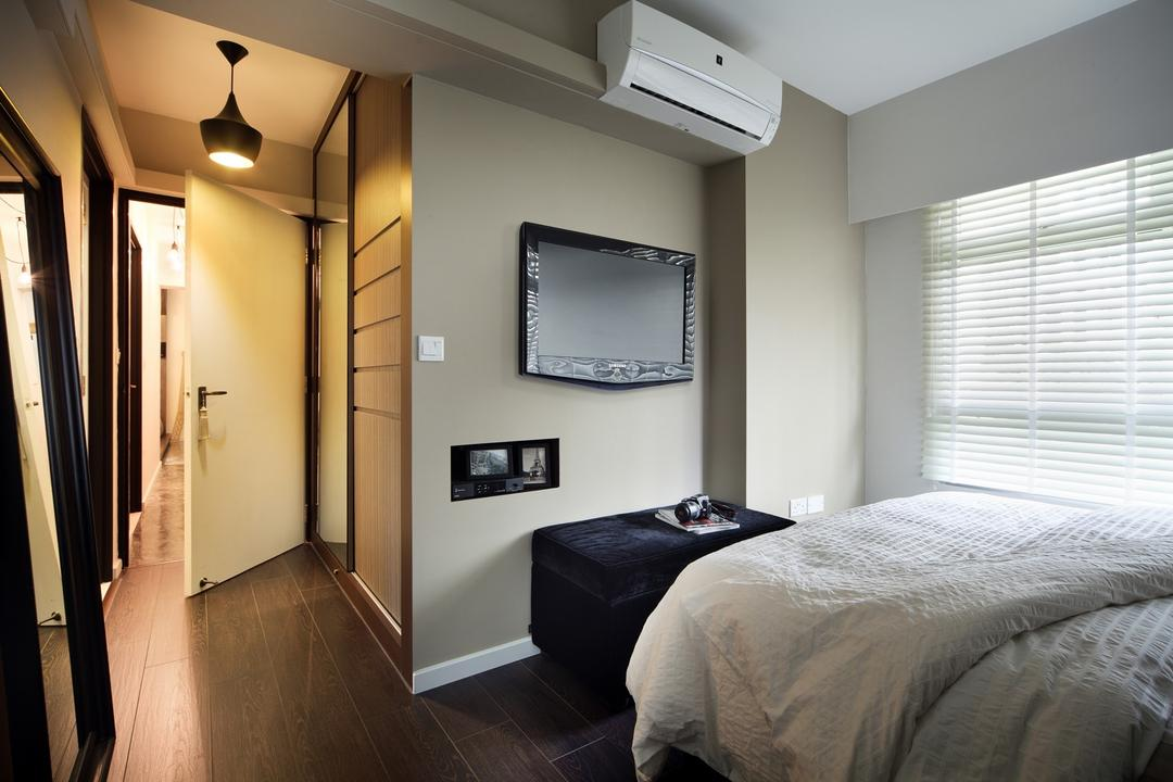 Strathmore Avenue, Chapter One Interior Design, Industrial, Bedroom, HDB, Venetian Blinds, Hanging Light, Lighting, White, Plank Flooring, Parquet, Bench, Footstool, Foot Rest, Gray, Light Fixture, Corridor, Bed, Furniture, Molding