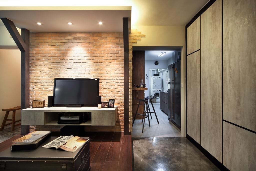 Industrial, HDB, Living Room, Strathmore Avenue, Interior Designer, Chapter One Interior Design, Brick Wall, Columns, Parquet, Coffee Table, Table, Tv Console, Cabinet, Cement Flooring, Laminate, Concealed Lighting, Book, Indoors, Interior Design