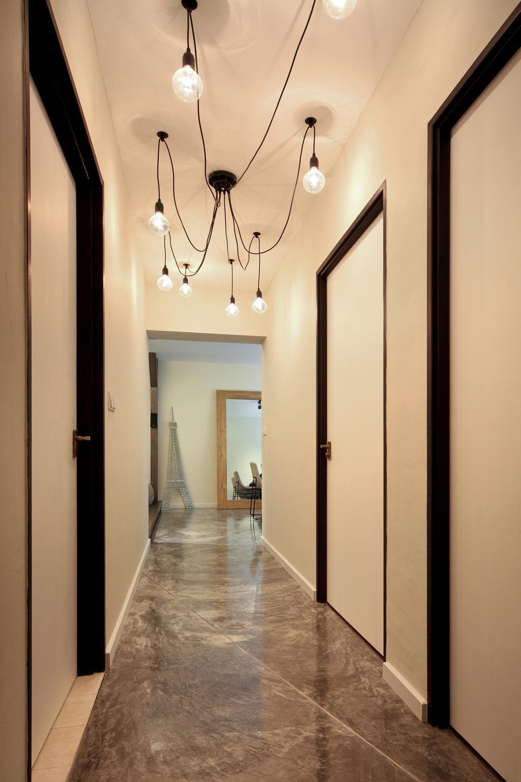 Industrial, HDB, Strathmore Avenue, Interior Designer, Chapter One Interior Design, Corridor, White, Hanging Light, Lighting, Doors, Sculpture, Cement Flooring