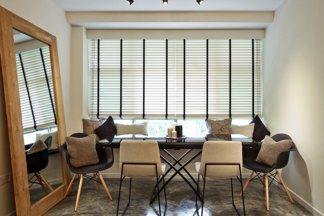 Strathmore Avenue, Chapter One Interior Design, Industrial, Dining Room, HDB, Venetian Blinds, Track Lighting, Dining Table, Table, Cement Flooring, Laminate, Wood Laminate, Wood, Mirror, Window Seat, Cushions, Candle Holder, White, Chair, Furniture, Indoors, Interior Design, Room