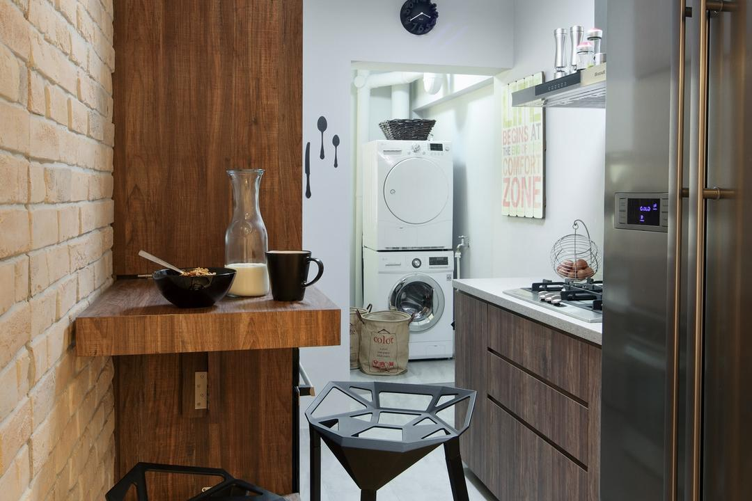 Strathmore Avenue, Chapter One Interior Design, Industrial, Kitchen, HDB, Barstools, Chair, Rustic, Laundry Room, Brick Wall, Raw, Wood Laminate, Wood, Laminate, Mounted Table, Kitchen Counter, Tile, Tiles, Parquet, Appliance, Dryer, Electrical Device, Indoors, Interior Design, Room