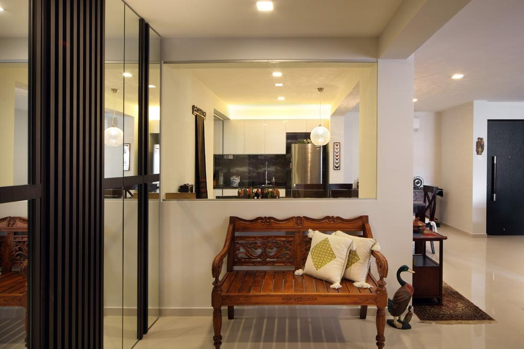 Transitional, HDB, Living Room, Tampines Street 47, Interior Designer, Chapter One Interior Design, Bench, Woodwork, Mirror, Full Length Mirror, Rug, White, Indoors, Interior Design
