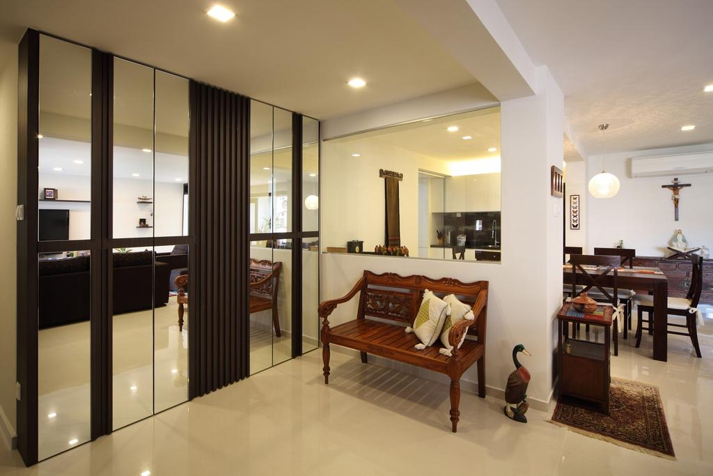 Transitional, HDB, Living Room, Tampines Street 47, Interior Designer, Chapter One Interior Design, Mirror, Full Length Mirror, Bench, Woodwork, Wood Laminate, Wood, Laminate, White, Rug, Arch, Arched, Architecture, Building, Vault Ceiling, Indoors, Interior Design, Furniture, Molding