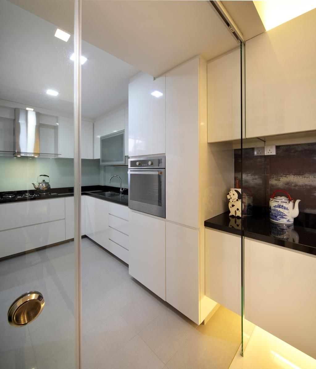 Transitional, HDB, Kitchen, Tampines Street 47, Interior Designer, Chapter One Interior Design, Exhaust Hood, Kitchen Counter, White, Laminate, Glass Wall, Glass Doors, Black, Cabinet, Ornaments, Sink, Appliance, Electrical Device, Oven, Indoors, Interior Design, Room