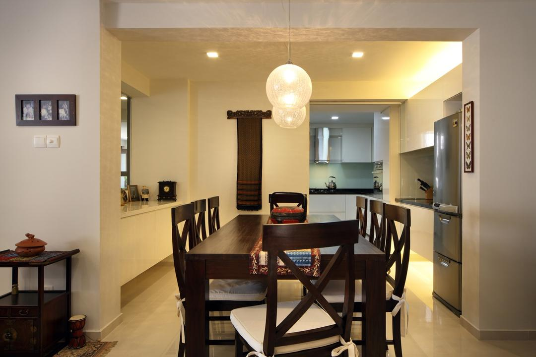 Tampines Street 47, Chapter One Interior Design, Transitional, Dining Room, HDB, Dining Table, Table, Hanging Light, Lighting, Pendant Light, White, Concealed Lighting, Wall Art, Wall Sculpture, Wood Laminate, Wood, Laminate, Chair, Furniture, Indoors, Interior Design, Room, Kitchen