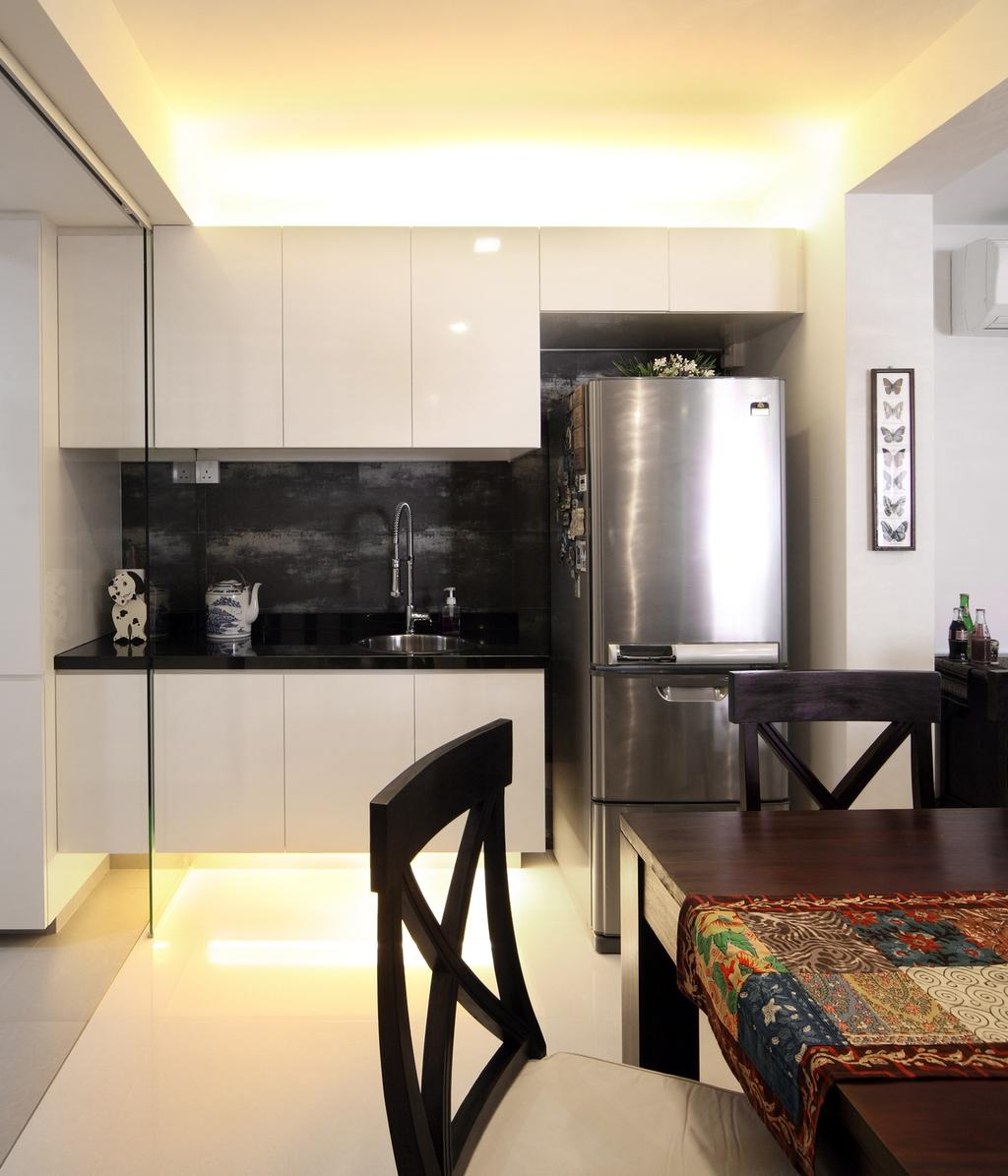 Transitional, HDB, Kitchen, Tampines Street 47, Interior Designer, Chapter One Interior Design, Concealed Lighting, White, Laminate, Kitchen Counter, Cabinet, Black, Dining Table, Table, Chair, Appliance, Electrical Device, Oven, Furniture, Indoors, Interior Design, Room
