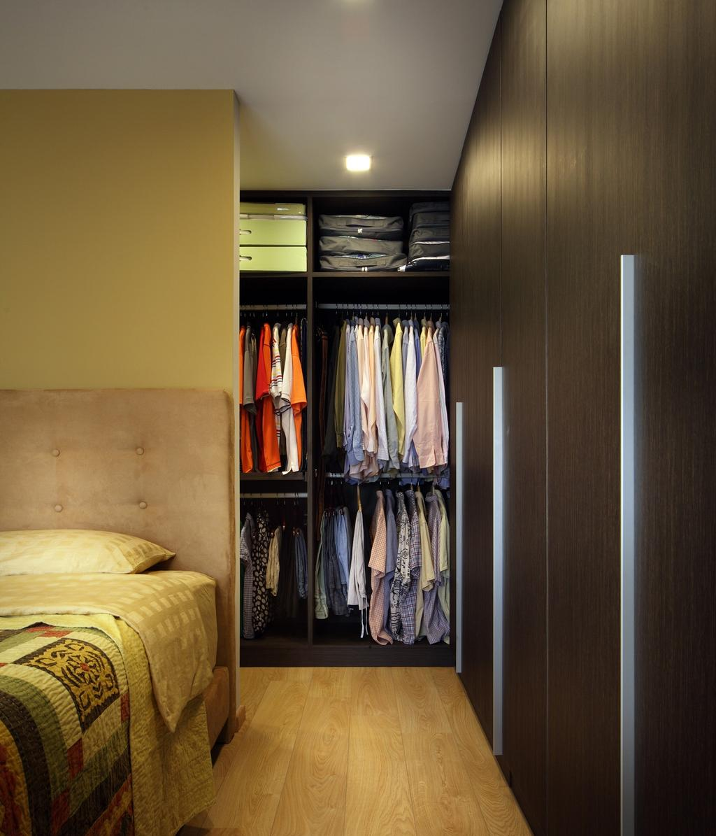 Transitional, HDB, Bedroom, Tampines Street 47, Interior Designer, Chapter One Interior Design, Master Bedroom, Walk In Wardrobe, Racks, Shelf, Shelves, Wardrobe, Closet, Parquet, Headboard, Tufted Headboard, Quilted Headboard, Furniture, Clothing, Denim, Jeans, Pants