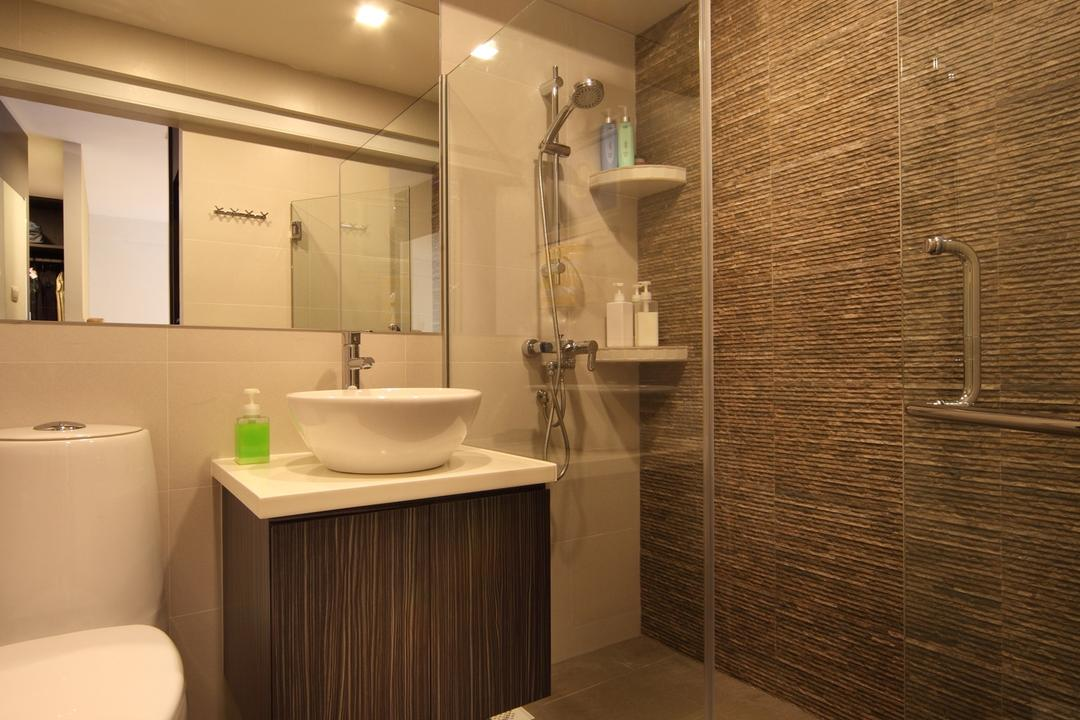 Tampines Street 47, Chapter One Interior Design, Transitional, Bathroom, HDB, Rain Shower, Mirror, Vessel Sink, Bathroom Counter, Stone Wall, Stacco Wall, Raw, Shelf, Shelves, Glass Wall, Brown, Glass Doors, Toilet, Indoors, Interior Design, Room