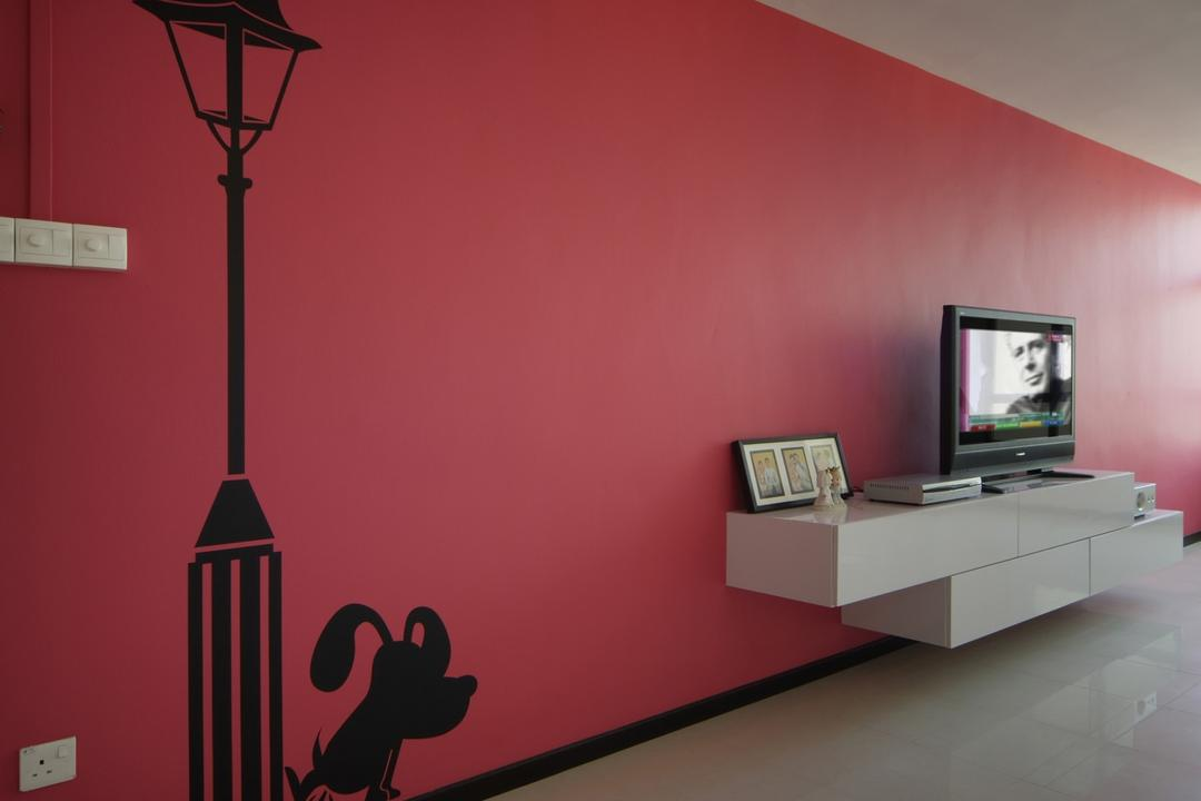 Jurong West (Block 677B), Chapter One Interior Design, Contemporary, Living Room, HDB, Pink, Tv Console, White, Wall Sticker, Wall Art, Tile, Tiles, Indoors, Interior Design, Electronics, Monitor, Screen, Tv, Television, Art, Art Gallery, Silhouette