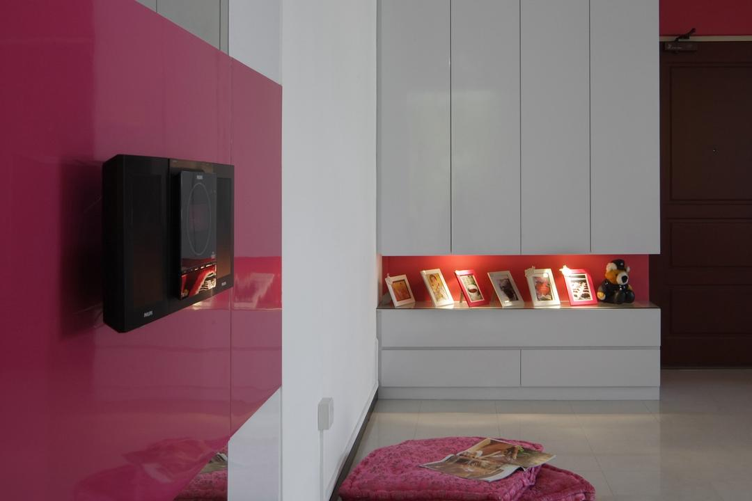 Jurong West (Block 677B), Chapter One Interior Design, Contemporary, Living Room, HDB, Pink, White, Shelf, Display Shelf, Cabinet, Box Cushions, Tile, Tiles, Mirror