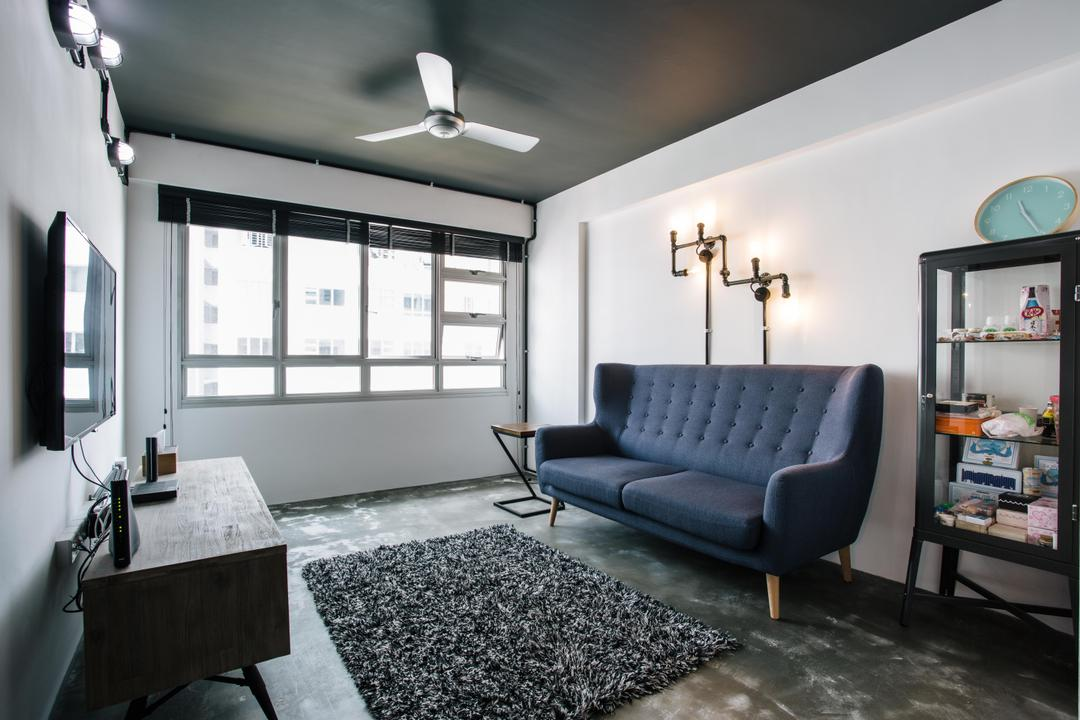 Macpherson Residency, Free Space Intent, Industrial, Living Room, HDB, Loveseat, Pencil Leg Furniture, Pencil Leg Sofa, Sofa, Blue Sofa, Ceiling Fan, Wall Lamp, Cabinet, Carpet, Dark Colours, Black, Grey, Gray, Couch, Furniture, Indoors, Room, Chair